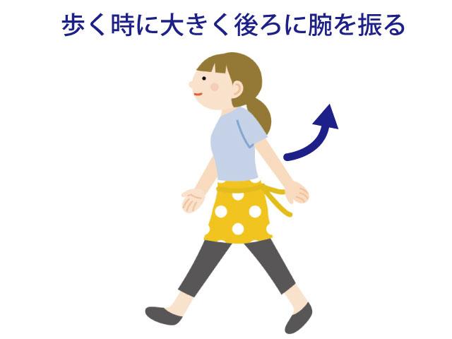 歩く時に大きく後ろに腕を振る